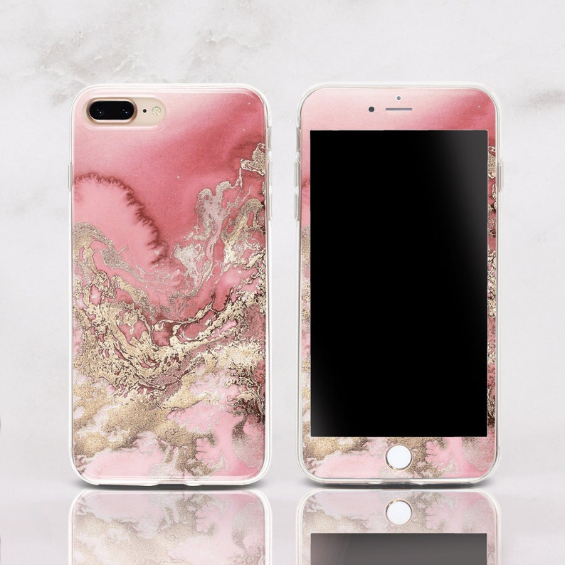 89a85b3872 Pink Gold Marble iPhone XR Phone Case iPhone XS Silicone Case   Etsy