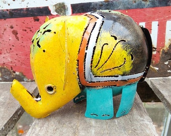 Yellow Elephant Tea Light Candle Holder / Incense Burner - Ideal for Home or Garden