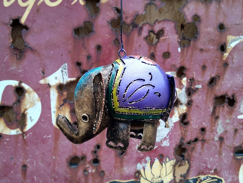 Purple Elephant Tea Light Candle Holder  Incense Burner Recycled Metal Lantern