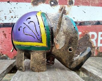 Purple Elephant Tea Light Candle Holder / Incense Burner - Recycled Metal Lantern