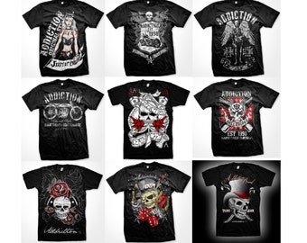 Addiction Motorcycle Clothing T-shirts - Various Designs - Exclusive UK stockist - Bike Tee