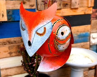 Yin Yang Red Fox Tea light Candle Holder | Recycled Metal Lantern | Indoor / Outdoor