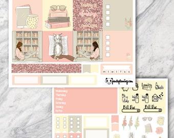 Bookworm, MINI Happy Planner kit, sticker kit, personal planner, Weekly Planner, , Premium Matte, Glossy, marble, pink, yellow, glitter