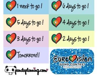 Eurovision Countdown Stickers - Mini sticker kit, Erin condren stickers, happy planner stickers, song contest, tv stickers, countdown