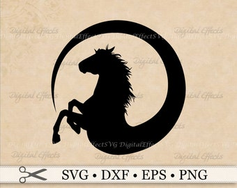 Horse SVG File Silhouette Svg Png Eps Dxf Files Clipart Design Circle Studio Cricut Cut