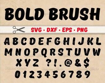 BOLD BRUSH SCRIPT Monogram Svg Dxf Eps Png Files Brush Stroke Digital Alphabet Letters Silhouette Cut Handwriting Font