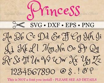 PRINCESS Font Monogram Svg Dxf Eps Png Brush Digital DIY Fancy Handwriting Silhouette Files Cricut Cut