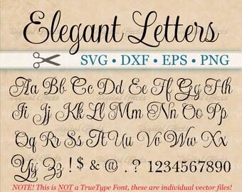 ELEGANT Script Font Monogram Svg, Dxf, Eps, Png;  Digital Monogram DIY, Fancy Script, Cursive Font, Silhouette Files, Cricut, Cut Files