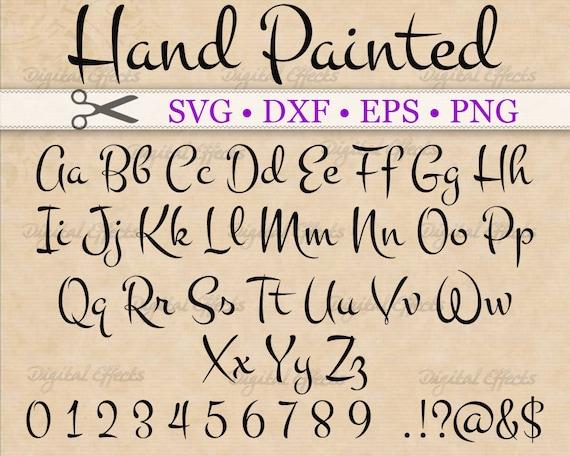 Hand Painted Font Script Svg Monogram Cursive Script Svg Etsy