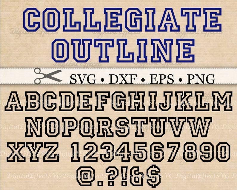 Collegiate Varsity Font Monogram SVG, Dxf, Eps, Png, Varsity SVG Outline  Alphabet, Silhouette Studio, Outline Letters Cut Files, Cricut