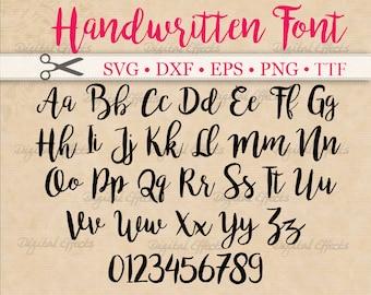 HANDWRITTEN Script SVG Font, Cursive Script Svg, Dxf, Eps, Png;  Brush font, Fancy Script, Wedding Font, Silhouette, Cricut Svg, Bonus TTF