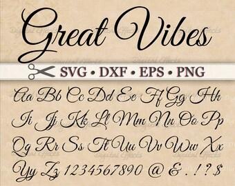 Great Vibes Script Font Monogram Svg, Dxf, Eps, Png;  Digital Monogram DIY, Fancy Script, Cursive Font, Silhouette Files, Cricut, Cut Files