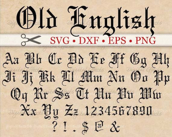 OLD ENGLISH Monogram Svg Font Gothic Letters Dxf Eps