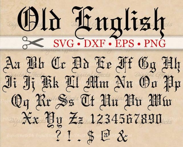Old English Monogram Svg Font Gothic Letters Svg Dxf Eps Etsy