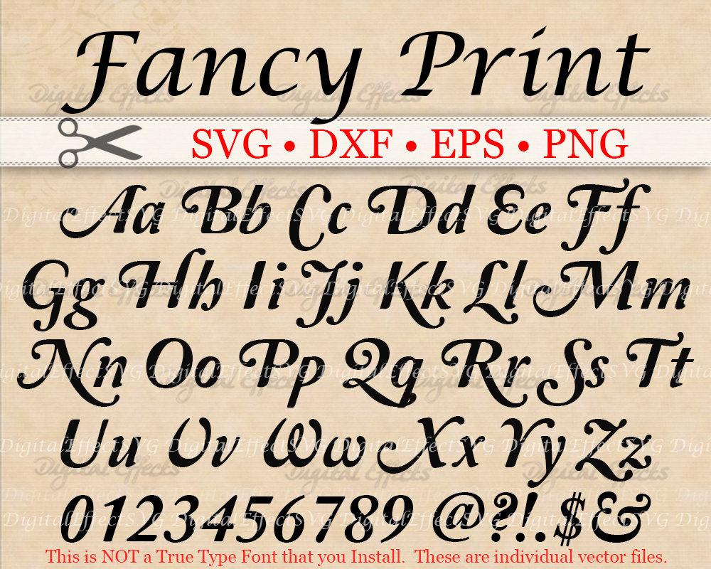FANCY Print SVG Scroll Font Retro Script Monogram Svg Dxf ...