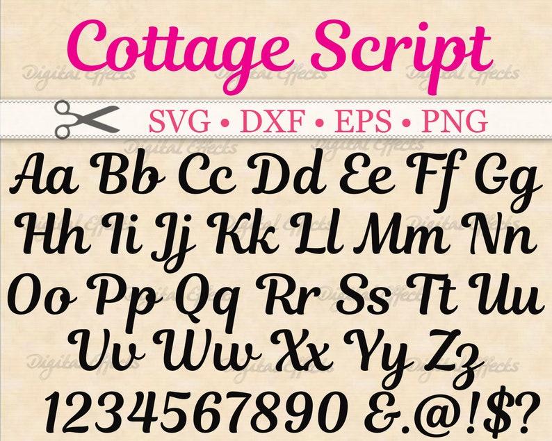 COTTAGE Font Script SVG, Retro Script Font Svg, Dxf, Eps, Png