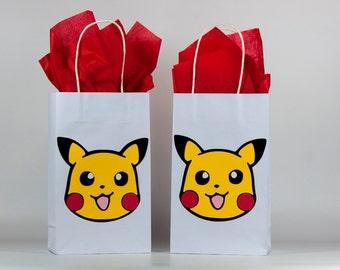 Pokemon Birthday - Pikachu Birthday Party Bags - Pokemon Birthday Party - Pokemon Party Decoration - Pikachu - Pokemon Party Bag Set Of 12