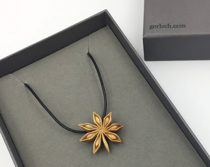 Star Anise necklace. Hand carved by Paul using only edge tools. Cherry Wood pendant. Wearable Art. Unique heirloom Chef Cook Valentine gift