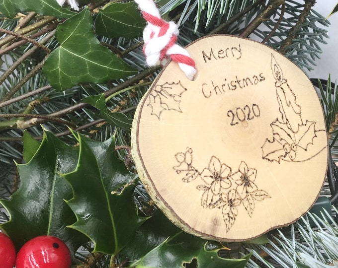Merry Christmas 2020 tree decoration - Pyrography / Wood Burning design with Christmas Candle, Rose and Holly - Festive tree ornament gift