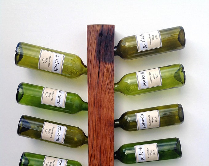 Wine bottle display - Wine rack - Reclaimed solid oak wood wine rack - Wall mounted - Holds 11 wine bottles - Wine storage - Modern rustic