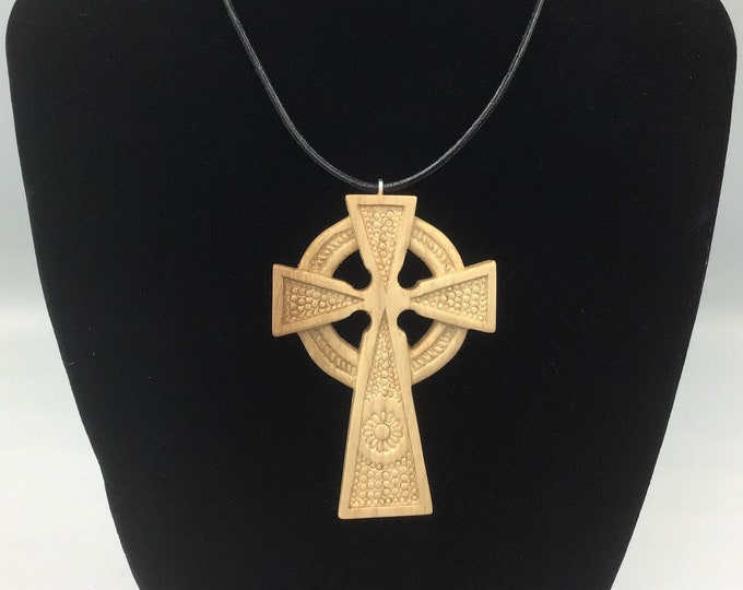 Celtic Cross Pendant - Large Hand Carved Cross - Unisex Irish Scottish Celts pendant - Decorative design hand-carved Cross pendant necklace