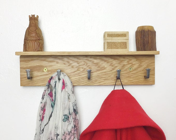 MICRO Oak Coat Rack - Natural Oak wood coat rack with 5 hooks - With or without shelf - Light Oak - Small wall mounted 33cm wide wooden rack