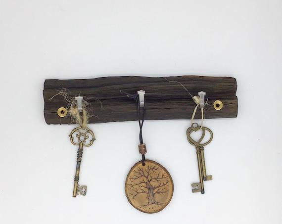 Key Rack - Oak wall key rack - 3 hooks - Solid Oak heartwood - Wall mounted - With hanging hooks / pegs - Woodland decor. Dark, near black