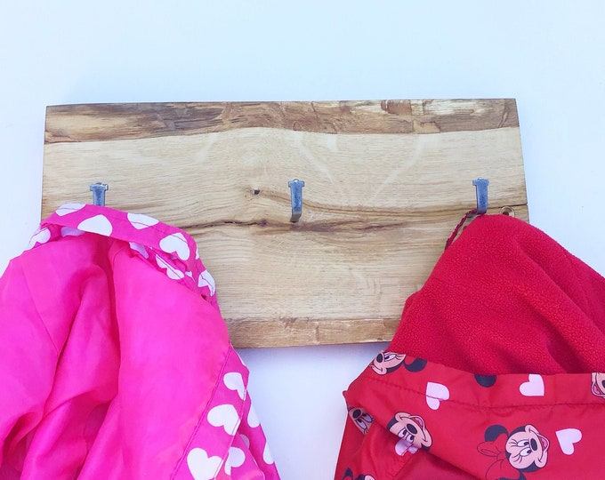Oak coat display rack. Solid old oak wood display wall rack. Scandinavian style coat pegs. Wall mounted woodland-inspired nursery decor