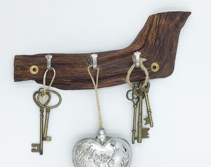 Dark Wood Key Rack - Oak wall key rack - 3 hooks - Solid Ancient Oak - Wall mounted hanging hooks / pegs. Woodland Rustic Home Storage Decor