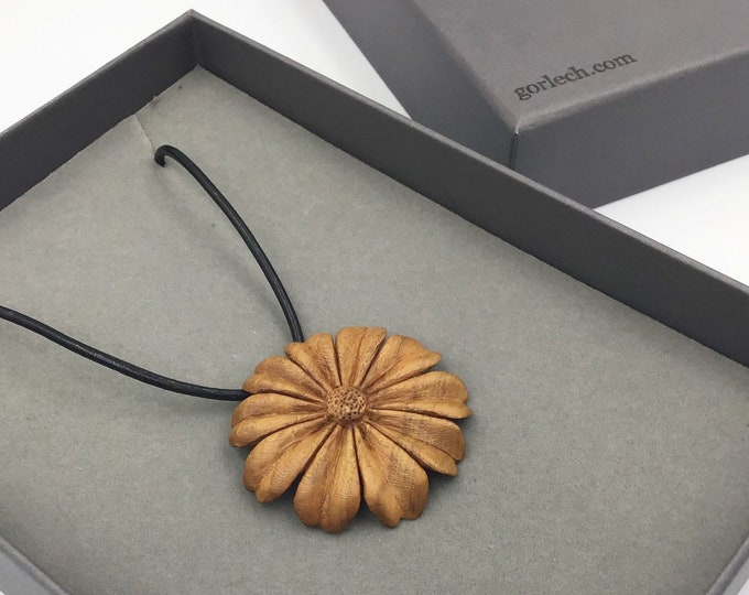 Hand carved Flower necklace. Wearable Art. Hand carved by Paul from local Cherry wood. Unique heirloom gift. Wife or Mother Valentine gift