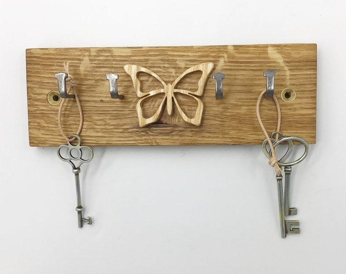 Butterfly Key rack - Reclaimed Oak Parquet Flooring - 21cm wide 4 hooks - Wall mounted Butterfly wings nature key display - Unique Key Hooks