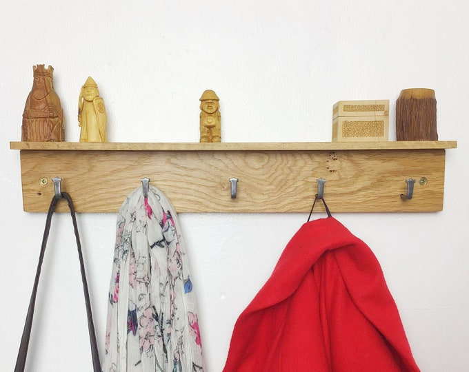 Oak Coat Rack - Solid Oak wood coat rack with 5 hooks - With or without shelf - Light Oak - Wall mounted 50cm wide - Wooden entryway hooks
