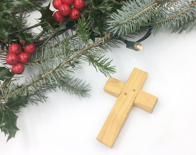 Wall crucifix - Cherry wood cross - medium 10cm tall - Wall mounted cross - Solid natural wooden crucifix - Christmas decoration ornament