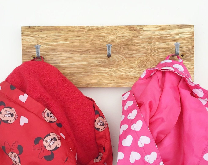 Coat rack - Wall mounted - Oak wood - Live edge - Woodland / Forest home decor - Modern rustic coat pegs - Local sustainable wood - Eco