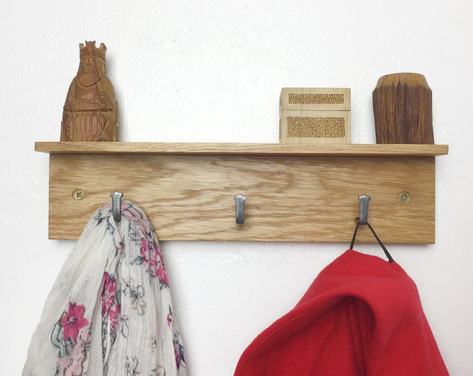 Oak Coat Rack - Natural Oak wood coat rack with 3 hooks - With or without shelf - Light Oak - Wall mounted 33cm wide - Wooden entryway hooks