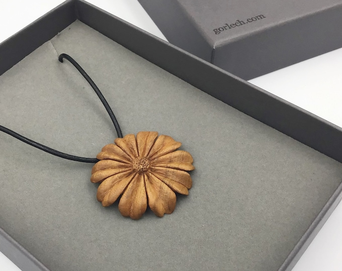 Hand carved Flower necklace. Wearable Art. Hand carved by Paul from local Cherry wood. Unique heirloom gift. Wife or Mother Christmas gift
