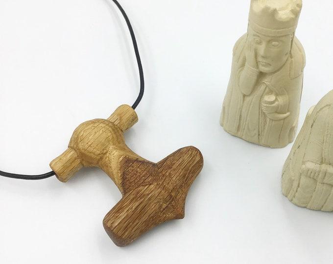 Thor's Hammer pendant - Hand Carved Oak - Large 6.5cm tall - Unisex Viking pendant - Norse God of Thunder - Mjolnir - Christmas gift for him