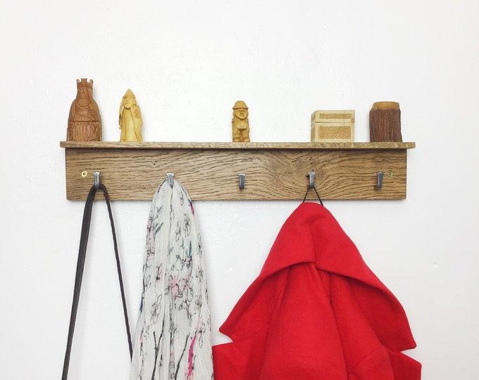 Oak Coat Rack - Dark Oak wood coat rack with 5 hooks - With or without shelf - DARK Oak - Wall mounted 50cm wide - Wooden entryway hooks