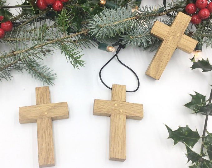 Wall Crucifix - medium 10cm wall hanging Oak cross - Handmade Oak Wall Crucifix - Religious Christmas gift idea - Christian wall home decor