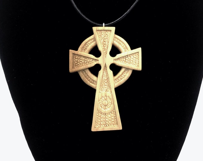 Celtic Cross Pendant - Hand Carved - Unisex Irish Scottish Celts large wooden pendant - Decorative design - Unique necklace - Christmas gift