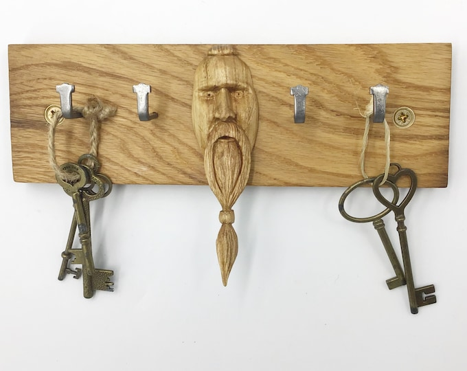 Viking Key rack - Reclaimed Oak Parquet Flooring - 4 hooks Solid Oak Wall Mounted - Viking Norse Men - Father Day Man Grandpa Granddad Gift