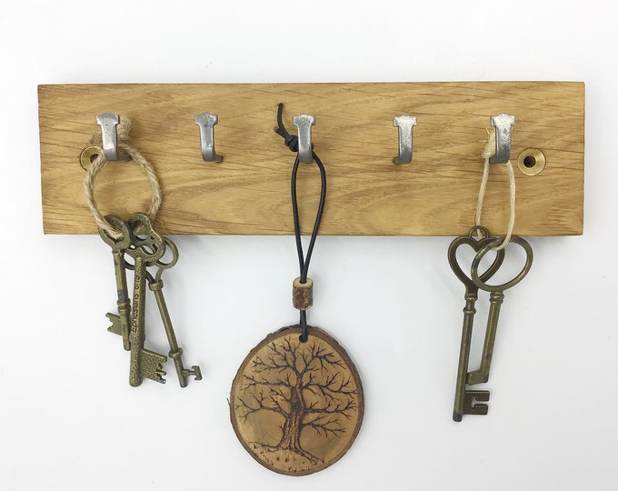 Key rack - Reclaimed Oak Parquet Flooring - 5 hooks - Solid Oak - repurposed, reclaimed, recycled, pre-loved - Modern rustic eco home decor