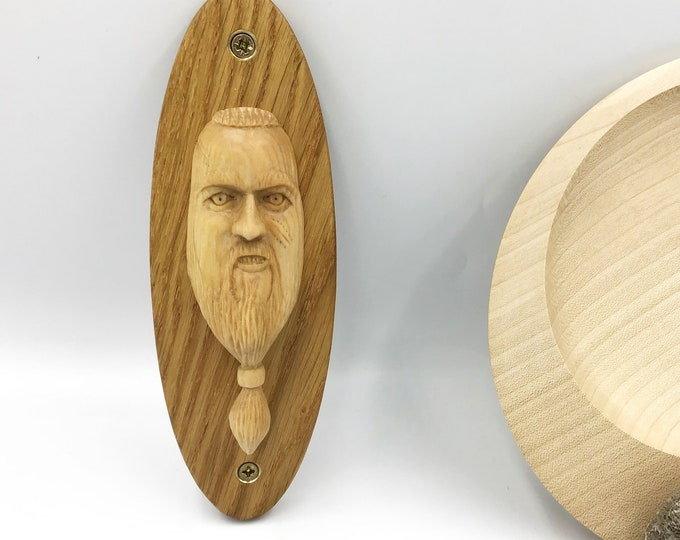 Viking Wall Carving - One off Design - Hand carved Cherry Viking - Oval Oak wall mounted plaque - Old Norse Erik Scarface Bearded Viking Man