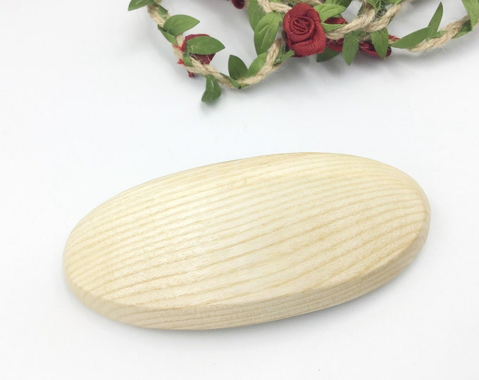 Oval Hair barrette. Sycamore wood. Genuine 'Made in France' metal clasp. High quality female hair clasp. Stylish wooden Women's hair side.