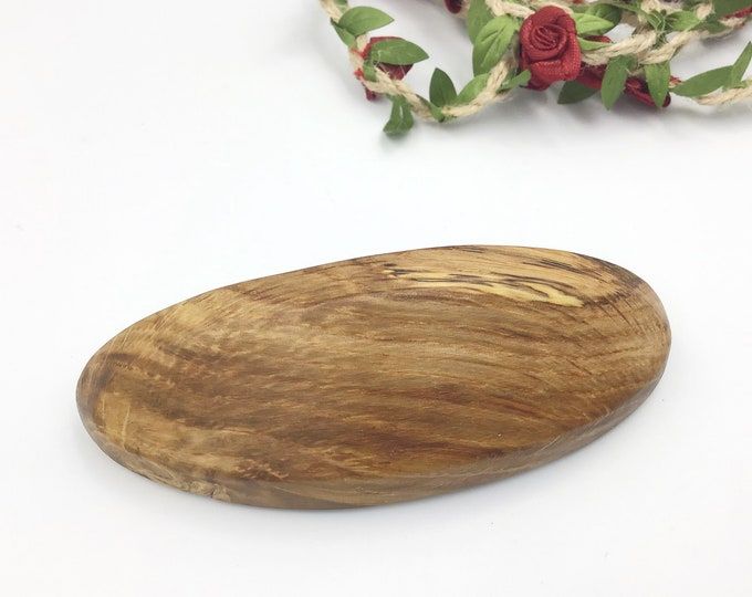 Oval Oak wood Hair barrette. Decorative hair clip. Rustic wooden French hair slide. Authentic 'Made in France' 8cm metal clip. Natural wood