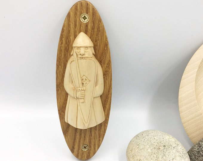 Viking Wall Carving - Berserker Isle of Lewis Chess Set - Hand carved Sycamore Viking - Oval Oak wall mounted plaque - Old Norse man replica