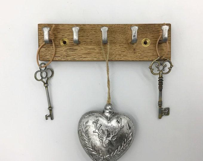 Micro Key rack only 16cm wide - Small Space 5 hook Dark Oak wall rack - Wall mounted key hooks - Sustainable Oak & strong metal hooks