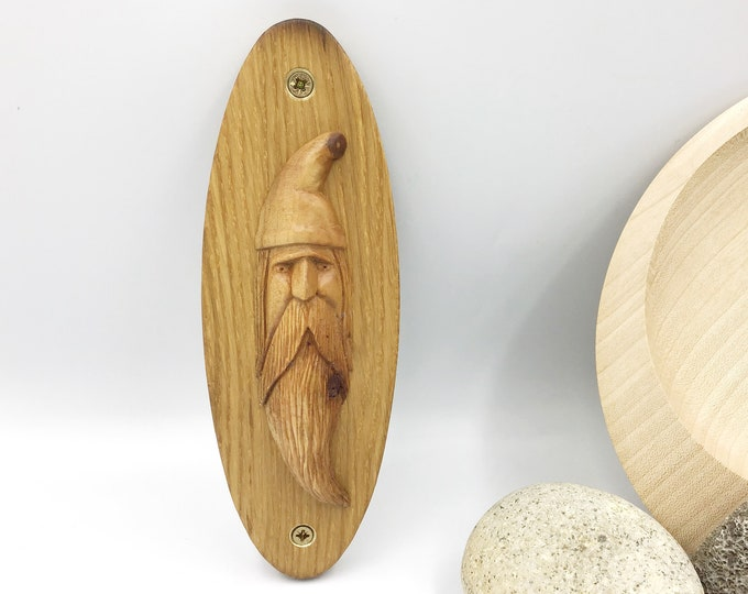 Wizard Wall Carving - Hand carved Cherry wood Wizard on an oval Oak wall mounted plaque - Wizard Harry Potter Magician Sorcerer Magic Spells