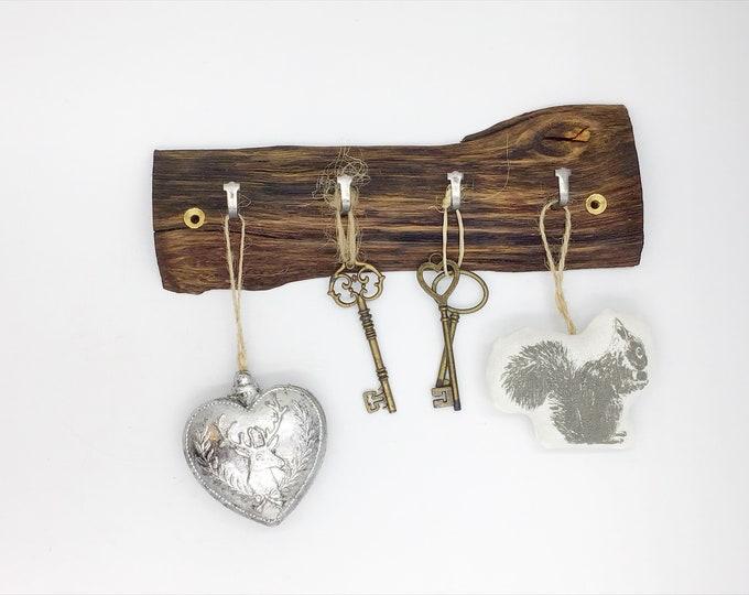 Wood Key Rack - Dark Rich Oak wall key rack - 4 hooks  - Wall mounted - hooks / pegs - Rustic Home decor - First / New house Housewarming