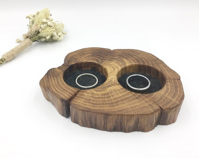 Bedside Ring dish. Natural Oak Wood & black suede. Keepsake Bedside jewellery bowl / tray. Christmas gift for her. Dark wood. Black inserts